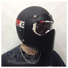 The Barbuta Moto is an all leather snap face shield accessory made for 3/4 motorcycle helmets. Universal fit, heavy duty leather construction, baddest look on the road!