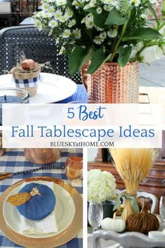 5 Best Fall Tablescape Ideas. Tips and ideas for fall table decor. How to use color, texture, and pattern in different seasonal settings. Fall Begins, Fall Table, Place Settings, Tablescapes, Seasons, Texture, Table Decorations, Surface Finish, Fall Table Decorations