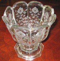Heisey+Cut+Crystal+Round+Colonial+Basket+#459+Vase+Etched+Flowers+Elegant+Glass+#Heisey