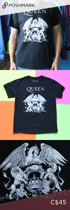 "Queen Band Black/White T-Shirt Queen Band Black/White T-Shirt SIZE: Large Excellent condition!  CHEST 21"" BACK 29"" BRAND: Queen FABRIC: 100% Cotton Country of origin: Dominican Republic Colour: Black TheBandTee.Shop Shirts Tees - Short Sleeve"