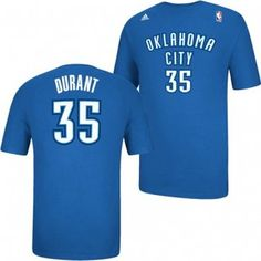 Oklahoma City Thunder Adidas NBA Kevin Durant #35 Youth Name & Number HD Gametime T-Shirt (Blue)