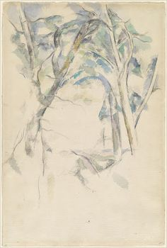 Trees Leaning over Rocks - Paul Cézanne — Google Arts & Culture