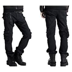 Cool Black Military Punk Rock Biker Casual Pants Clothing for Men SKU-11404221
