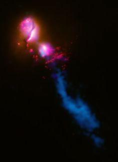 Death Star Galaxy! This composite image shows the jet from a black hole at the center of a galaxy striking the edge of another galaxy, it is the first time such an interaction is detected. In the picture, you have ncombinado data from several wavelengths. X-rays from Chandra (purple), optical and ultraviolet data (UV) Hubble (red and orange), and radio emission from the Very Large Array (VLA) and MERLIN (blue) show how the jet the main galaxy on the upper left of surprises his companion…