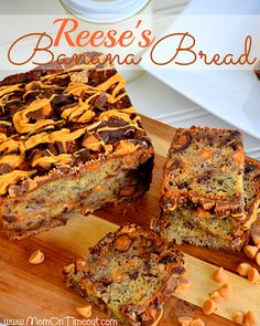 Reese's {Explosion} Banana Bread from MomOnTimeout.com   An explosion of Reese's turns this banana bread into the ultimate treat! #bread #breakfast #Reese's