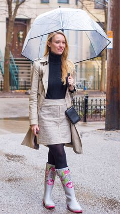 """Rainy Day Outfit: How to Stay Warm on the Coldest of Rainy Days -  As first seen on blog """"Style by Joules"""" here: Rainy Day Outfit: How to Stay Warm on the Coldest of Rainy Days  She is wearing tights similar here: Target Blackout 120 Denier Opaque Tights Nylon and spandex fabric is lightweight and stretchy Midrise style hits right at the waist Opaque design keeps you covered A must-have wardrobe staple these Women's Tights in Blackout 120 Denier Opaque Black by Merona add a sleek finishing…"""