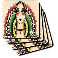 3dRose cst/_62386/_3 Mexican Art Deco Lady with Skulls Ceramic Tile Coasters Set of 4