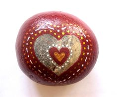 Hand painted Heart Art stone/paperweight by SeeQueenStones on Etsy, £8.00