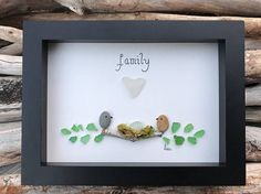 Sea Glass artwork designed and made by Ethan and me. All the sea glass, driftwood, beach brick and rocks are found and hand picked on the shores of the beaches we frequent and visit in Nova Scotia. Therefore we can guarantee that our beach items are genuine. A family of birds