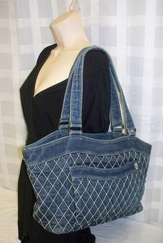 Denim bag with white stippling