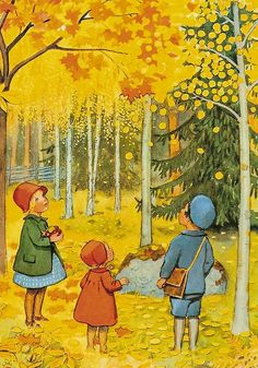 Elsa Beskow - all the colors I'm looking for: sunflower, pumpkin, dusty turquoise, tan, & a touch of green