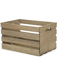 The Lucky Clover Trading Antique Wood Crate Basket with Handles, Grey ❤ The Lucky Clover Trading Co.