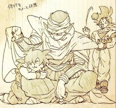 Goku, Piccolo, and Gohan