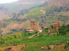 | Yemeni beautiful village |  A beautiful Yemeni village , located between the cities of Shibam and Mahweet near Sana'a.