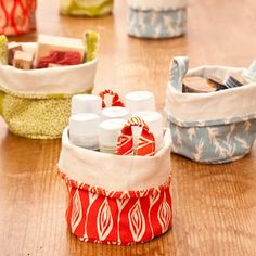 Fabric buckets! Great idea but you can make it instead of buying it!! Perfect for hand sanitizers