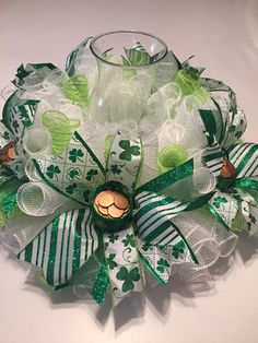 St Patrick's Day White Lg Mesh Centerpiece patricks day dinner table Your place to buy and sell all things handmade Holiday Wreaths, Holiday Crafts, Holiday Fun, Green Glitter, Glitter Ribbon, St. Patricks Day, St Patrick's Day Decorations, St Patrick's Day Crafts, Irish Blessing