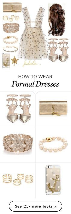 """Winter Formal"" by alliejandrovin on Polyvore featuring Valentino, Yves Saint Laurent, Oasis, Marchesa and Casetify"