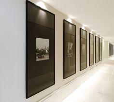 Gallery Solutions Snap Black U-Channel Poster Frame minimalist gallery style corridor; Flur Design, Home Design, Deco Design, Wall Design, Hotel Corridor, Corridor Ideas, Hallway Ideas, Hotel Hallway, Corridor Lighting