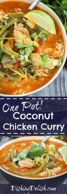 One Pot Coconut Chicken Curry is a combination of tender chicken thighs, fresh bell peppers, carrots, and string beans swimming in a pot of red curry sauce and served over rice. You can make this dish as spicy – or not spicy – as you want. The best part about this dish? It only uses one pot, and is ready in 30 minutes!