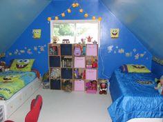 Funny Spongebob Squarepants Kids Room Designs : Stylish Attic Blue and White Kids Room Design with Funny Spongebob Squarepants Bedding Set a...