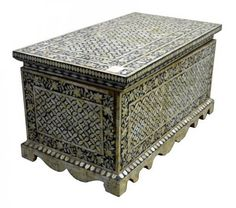 Antique Indian Ornate Trunk / Chest with Mother-of-Pearl Inlay image 2