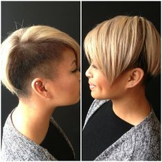 women's haircut, blonde short hairstyle with black shaved sides