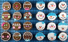 mini gingerbread faces and gingerbread snowmen
