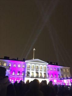 Suomi 100, presidentinlinna ja sen valaistus 5.12.2017