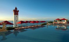 Views of the Indian Ocean and the iconic lighthouse- The Oyster Box, (Light House Road), Umhlanga Rocks, Durban, South Africa Beautiful Hotels, Beautiful Places To Visit, Beautiful Scenery, Hotels And Resorts, Best Hotels, Backpack Through Europe, Visit South Africa, V&a Waterfront, Leading Hotels