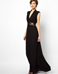 "Love this style! Jarlo ""Vicky"" Button Through Maxi Dress with Lace Insert - available in black, navy and burgundy from ASOS"