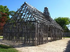 "Reconstructed framework for a ""Mud and Stud"" house that was built inside the original 1607 fort. Located in the tidewater region of Virginia, along the James River, Jamestown was the first permanent English colony in the United States. Settled in 1607, it was the capital of the Virginia Colony until 1699, when the capital was relocated to Williamsburg. Today the site is administered by Colonial National Historic Park."