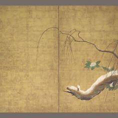 Bonhams 1793 : Hasegawa Totetsu (fl. 17th c.)Willow and camellia