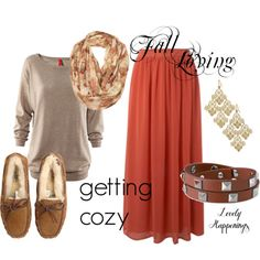 Maxi skirt for fall, but with brown riding boots instead.