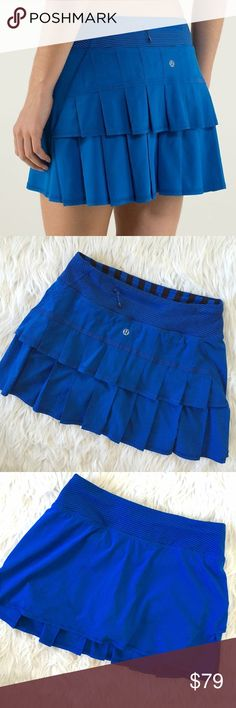 "• Lululemon • Pace Setter Skirt Royal Cobalt Blue Pace Setter Skirt  Striped shorts inside   Not sure if tall or regular size so I've provided measurements:  \ Waist 13.5""  \\ Length 12.5""   \\ Condition: Like new No trades lululemon athletica Skirts"