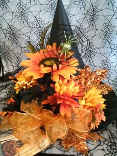 Orange Lighted Witch Hat by oldelangfarms on Etsy, $26.00