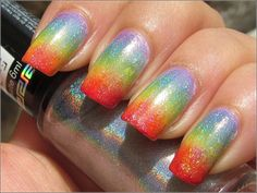 Rainbow Gradient nail Multi-color ombré with silver glitter Free Hand Nail Art - Pride Purple, blue, green, yellow, orange, red