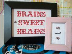 Cross stitch sampler  Brains Sweet