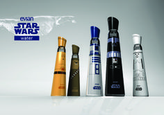 If you are a Star Wars fan, you are going to love these Evian water bottles. They give you a double whammy to satisfy your Star Wars addiction and your Evian Water Bottle, Water Bottle Design, Water Bottles, Bottled Water, Starwars, Chewbacca, Geeks, Packaging, Rolodex