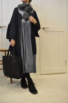 Layered grey with black jacket