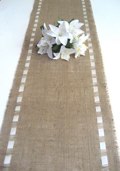 Burlap Table Runner with Ivory Satin Ribbon  Rustic by Wonders4You, $24.00