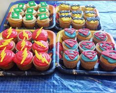 Superman cupcakes- melties died red and piped onto the logo underneath wax paper. Nifty.
