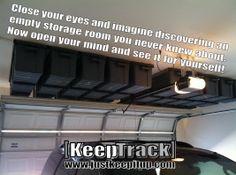 Keep Track Storage Solutions specializes in overhead garage storage that creates. Keep Track Stora Overhead Garage Storage, Garage Storage Solutions, Diy Garage, Garage Ideas, Garage Doors, Garage Workshop Organization, Organization Ideas, Secret Storage, Garage Cabinets
