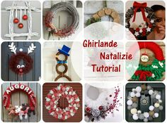 Come fare una ghirlanda natalizia fai da te: raccolta di tutti i tutorial per realizzare ghirlande in feltro, stoffa, materiali di riciclo... Christmas Wreaths, Christmas Crafts, Xmas, Christmas Ornaments, Gallery Frames, Rattan Basket, Paper Cover, Natural Texture, Fabric Covered
