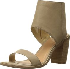 Very Volatile Women's South Dress Sandal, Taupe, 8 B US. Sandal featuring wide ankle cuff and stacked chunky heel. Side zipper. Lightly padded footbed.