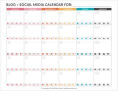 blog + social media editorial calendar printable / half asleep studio.
