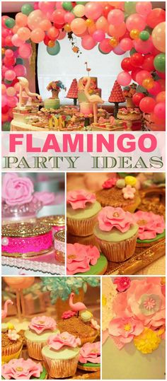 Here's a gorgeous flamingo themed party! See more party ideas at CatchMyParty.com!