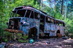 © Blende, Dana Struve, Nicht mehr transportfähig   Ein alter Schulbus. Wahrscheinlich wurden damit früher mal sehr viele Kinder damit zur Schule gefahren. Nun zerfällt er in seine Einzelteile...und gibt ein tolles Fotomotiv ab. Entstanden ist dieses Foto auf einen Autofriedhof in Schweden.