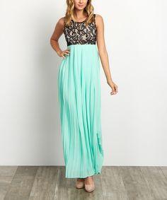 Look at this #zulilyfind! PinkBlush Mint Green Pleated Chiffon Lace Maxi Dress by PinkBlush #zulilyfinds