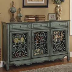 Wayfair - ONE ALLIUM WAY BOWDON 3 DRAWER 3 DOOR CREDENZA - vintage rustic side board entry way table. close match to Annie Sloan's duck egg blue. 2017 home decor