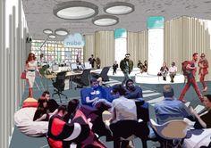 Coworking + Cloud + People + Interior Design + Wood. Architecture. Díaz y Díaz